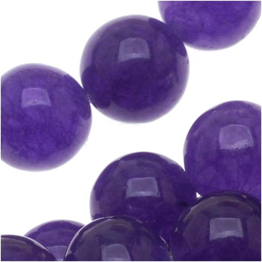 Deep Purple Candy Jade 8mm Round Beads (15 Inch Strand)