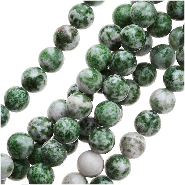 China Jade 8mm Round Beads Green / 15 Inch Strand
