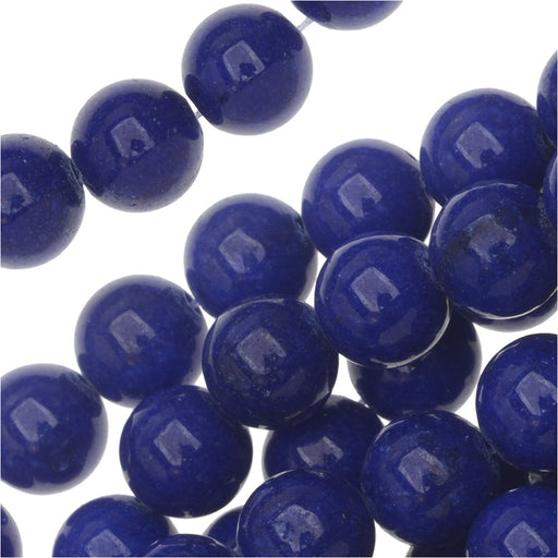 Gemstone Beads, Lapis Blue Candy Jade, Round 8mm, 14.5 Inch Strand