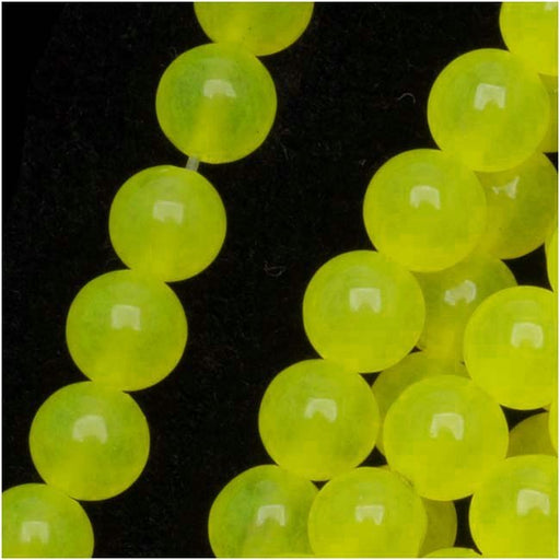 Gemstone Beads, Neon Yellow Candy Jade, Round 6mm, 15 Inch Strand