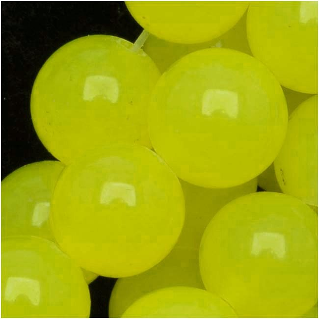Gemstone Beads, Lemon Candy Jade, Round 8mm, 15 Inch Strand