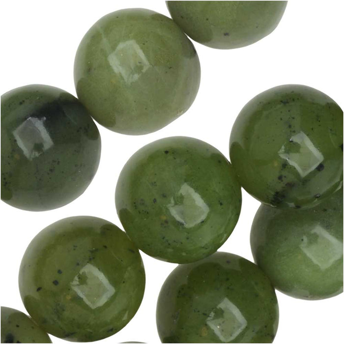 Dakota Stones Gemstone Beads, Green Jade, Round 10mm, 8 Inch Strand