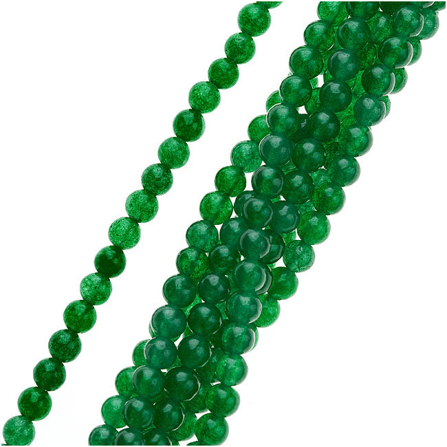 Gemstone Beads, Green Candy Jade, Round 4mm, 15.5 Inch Strand