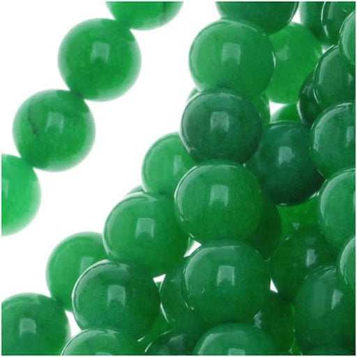 Green Candy Jade 6mm Round Beads / 14.5 Inch Strand