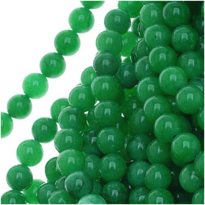 Green Candy Jade 6mm Round Beads / 15 Inch Strand