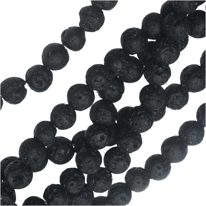 Gemstone Beads, Black Lava, Round 6mm, 15.25 Inch Strand