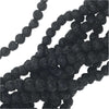 Natural Lava Gemstone Beads, Round 4mm, 1 Strand, Black