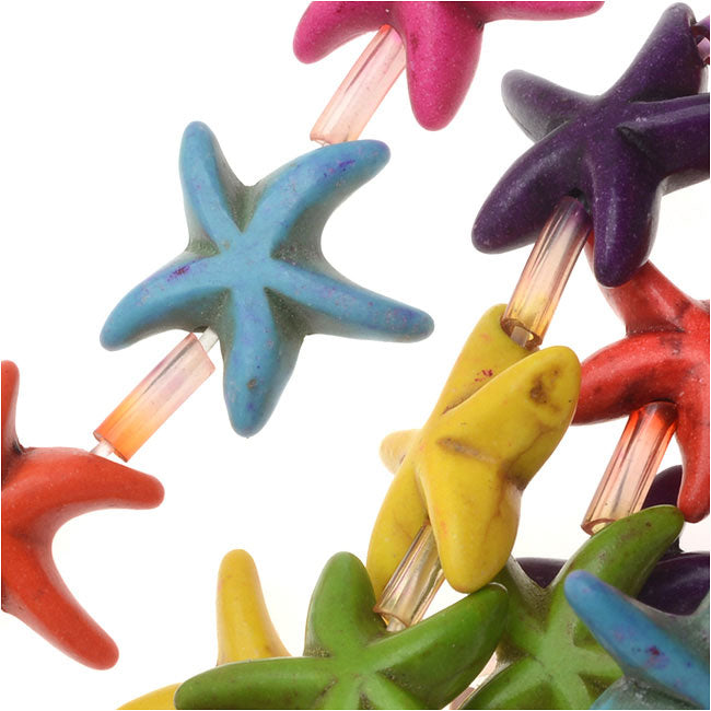 Gemstone Beads, Dyed Magnesite, Starfish 14mm, 15 Inch Strand, Multi Color