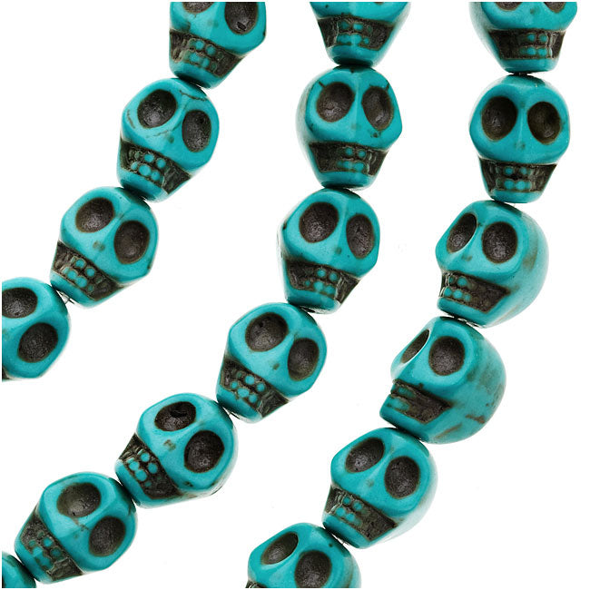 Final Sale - Turquoise Magnesite (Dyed)  Gemstone Beads Carved Skulls 10x12mm (10)