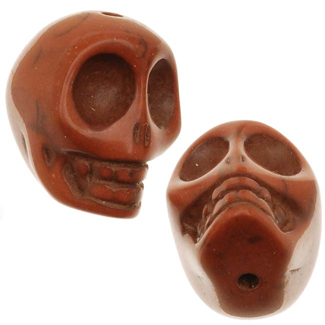 Final Sale - Reddish Brown Magnesite (Dyed)  Gemstone Beads Carved Skulls 14x18mm (10)