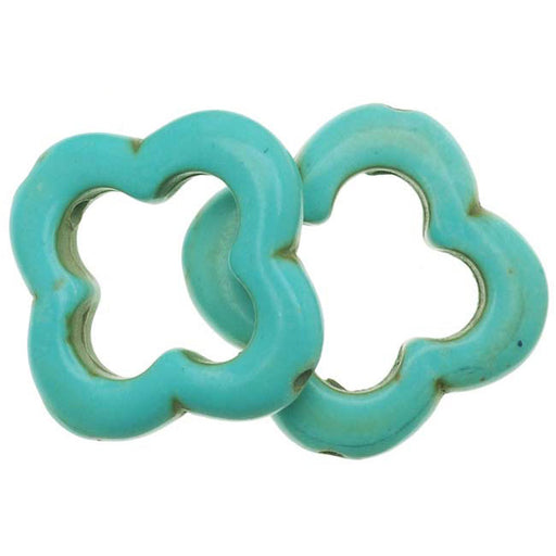 Turquoise Blue Magnesite (Dyed) Open Clover / Flower Shaped Beads 20mm (10)