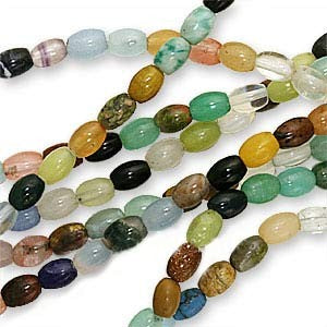 Gemstone & Glass Bead Mix 4 x 6mm Tapered Tubes/16 Inch Strand