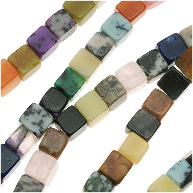 Gemstone Bead Lot Mix 6X6mm Cube Beads (15 Inch Strand)