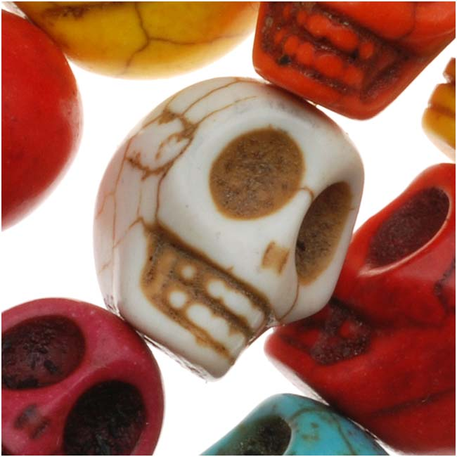 Dyed Stone Carved Skull Beads Bright Color Mix 10x12mm (20)