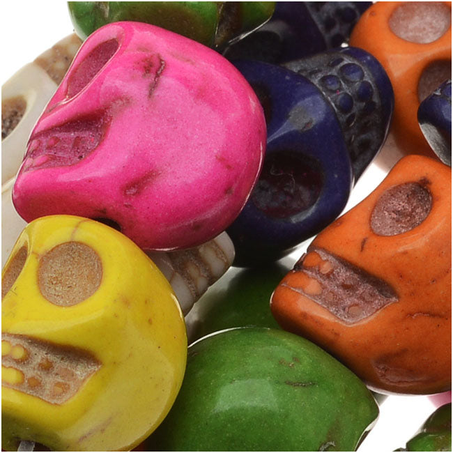 Gemstone Beads, Dyed Stone Carved Skull Mardi Gras 10x12mm, 20 Pieces