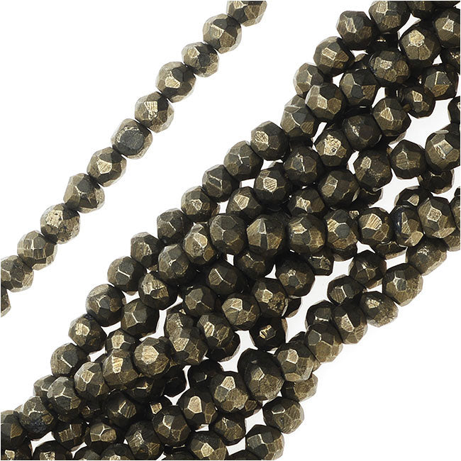 Pyrite Gemstone Beads, Faceted Rondelles 3x4mm, 13 Inch Strand, Gold