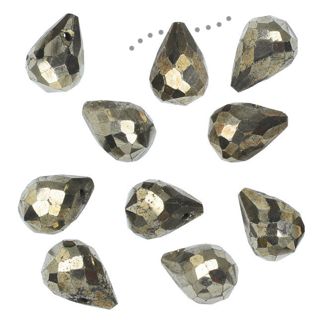 Gemstone Beads, Pyrite, Faceted Teardrops 5x7mm, 10 Pieces, Gold