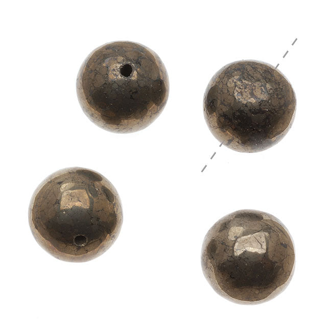 Gemstone Pyrite Fool's Gold 16mm Round Beads - (4 Beads)