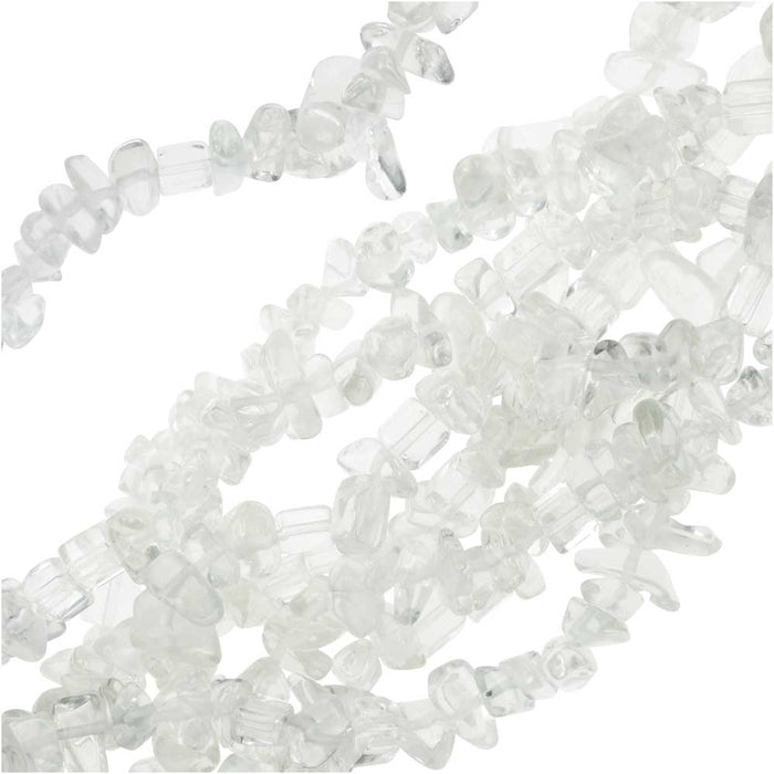 Crystal Quartz Gemstone Beads, Smooth Chip 7-12mm, 36 Inch Strand