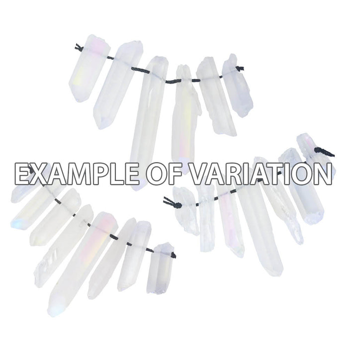Gemstone Beads, Rainbow Crystal Quartz, Rough Crystal Points 34-44mm, 1 Strand