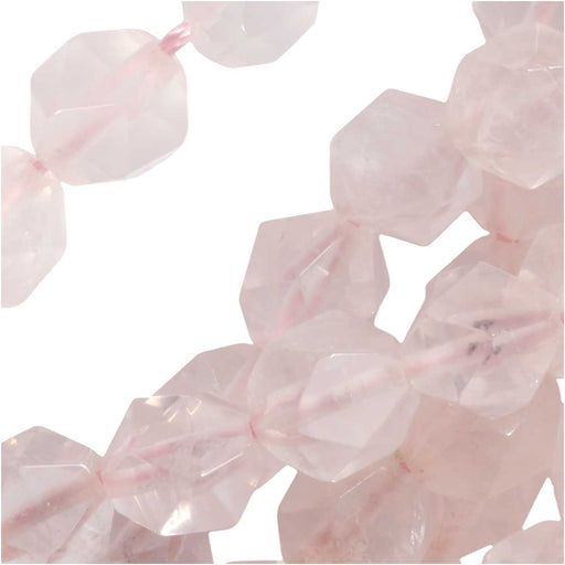 Dakota Stones Gemstone Beads, Rose Quartz, Star Cut Faceted Round 8mm, 15 Inch Strand