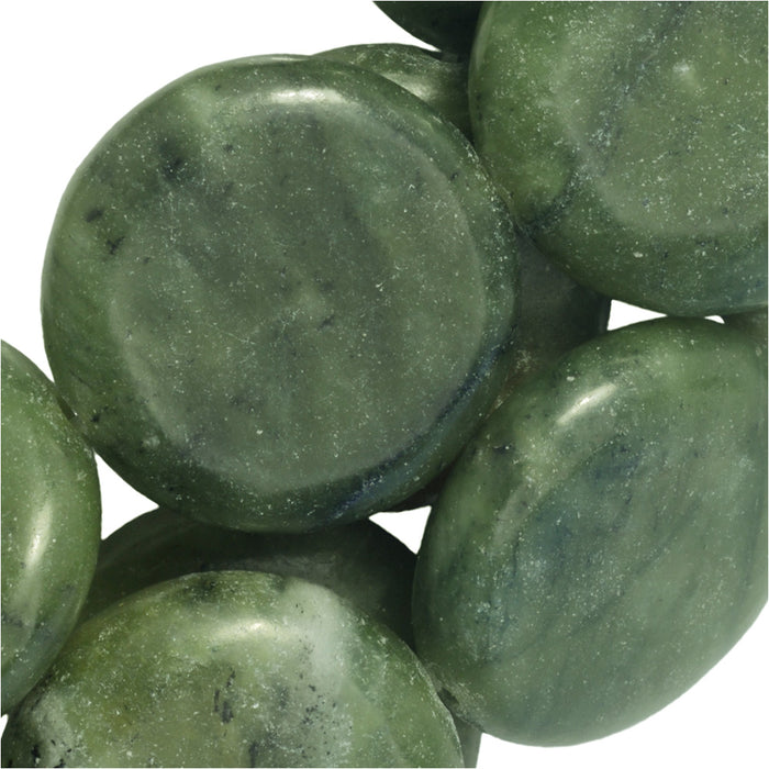Gemstone Beads, Green Serpentine, Coin 17mm, 15 Inch Strand