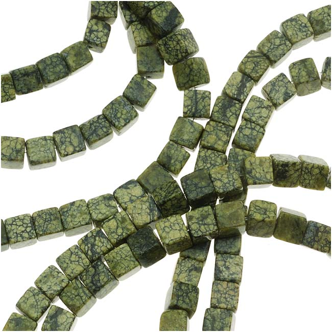 Serpentine Russian Jade Cube Beads 4 x 4mm - 15.5 Inch Strand