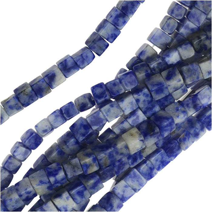 Blue Sodalite 4x4x4mm Cube Beads / 15.5 Inch Strand (Lapis Color)