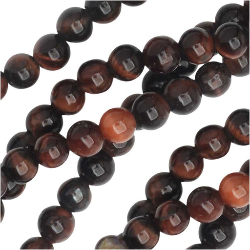 Dakota Stones Gemstone Beads, Red Tiger Eye, Round 4mm, 8 Inch Strand
