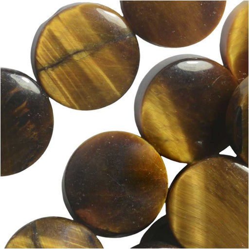Dakota Stones Gemstone Beads, Tiger Eye, Coin 12mm, 8 Inch Strand