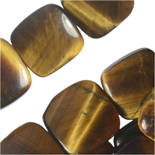 Dakota Stones Gemstone Beads, Tiger Eye, Square 12mm, 8 Inch Strand