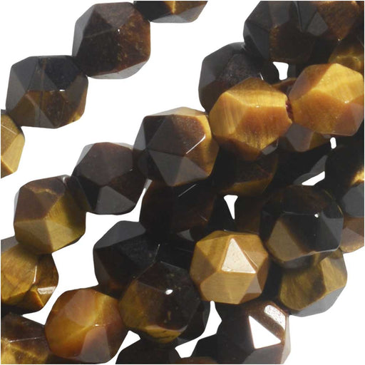 Dakota Stones Gemstone Beads, Tiger Eye, Star Cut Faceted Round 6mm, 15 Inch Strand