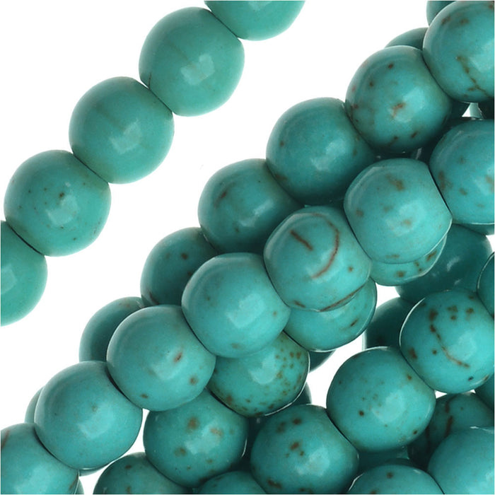 Blue Chalk Turquoise Gem Round Beads 6mm Stabilized /15.5 Inch Strand