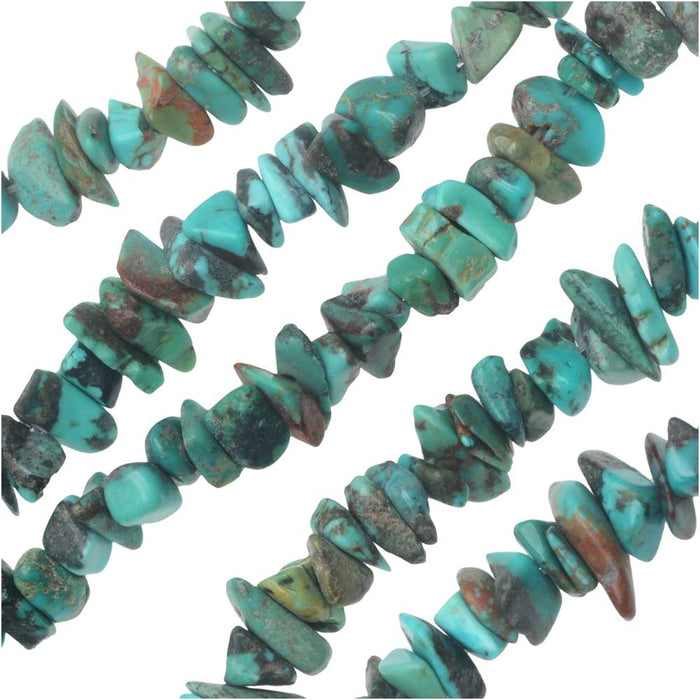 Gemstone Beads, Stabilized Turquoise, Chips 1-4mm, 15.5 Inch Strand