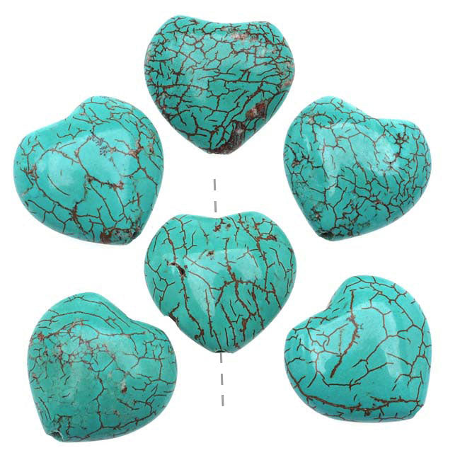 Gemstone Beads, Blue Turquoise, Heart Shaped Focal 18mm, 6 Pieces, Stabilized