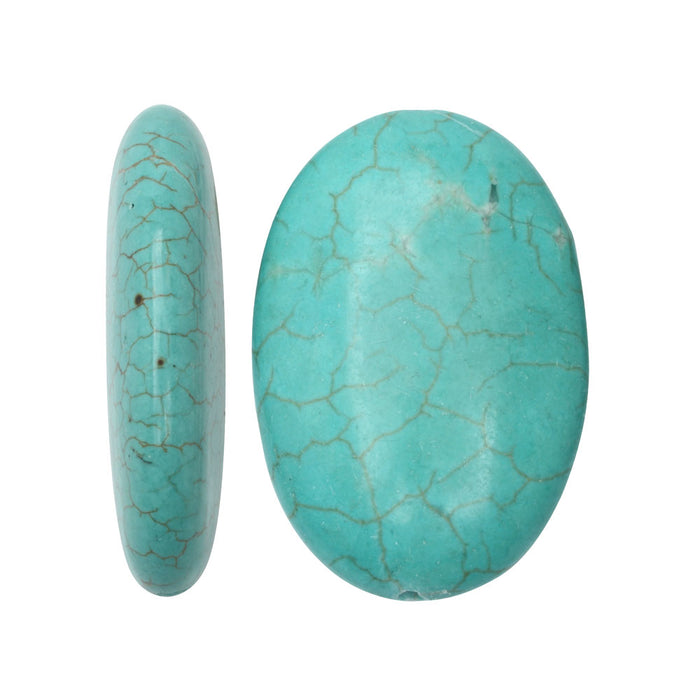 Large Turquoise Oval Pendant Bead 20X30mm (Stabilized) (1)