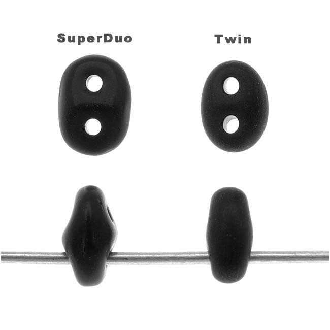 SuperDuo 2-Hole Czech Glass Beads, Silver, 2x5mm, 8g Tube