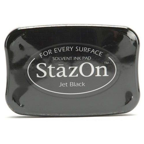 Tsukineko StazOn Acid Free Jet Black Color Solvent Ink Pad For Rubber Stamps