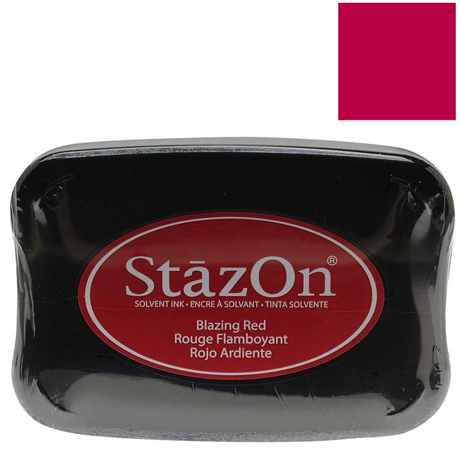 Tsukineko StazOn Ink Pad For Stamps - Blazing Red Color,  1 Ink Pad