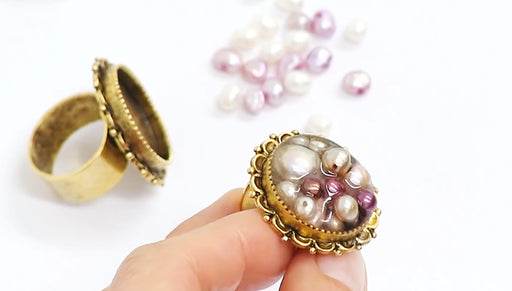 How to Make a Pearl Beaded Ring with 2-Part Resin by Becky Nunn