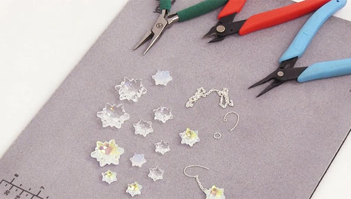 How to Make Snowflake Earrings using Swarovski Crystal Edelweiss Pendants