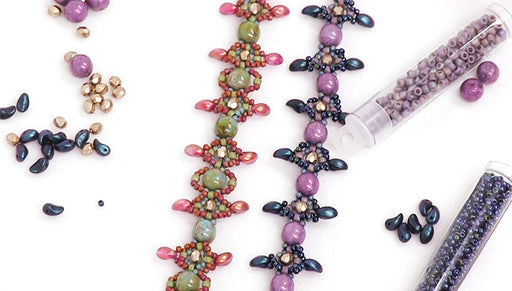 How to Bead Weave a Bracelet using 2-Hole Dobble Beads and Lily Petal Beads