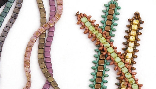 How to Bead Weave a Bracelet with SuperDuos and 2-Hole Square Beads