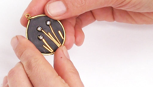 How to Make a Framed Pendant with Wire, Rhinestone Chain, and Epoxy Clay by Becky Nunn