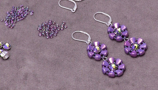 How to Make the Lizette Earrings with Czech glass Nib-Bits and Swarovski Crystal Rose Montees