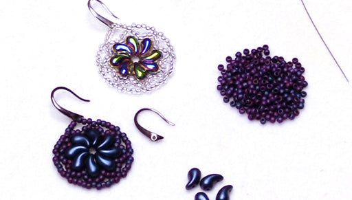 How to Make the Lacy Floral Swirl Earrings featuring Czech Glass ZoliDuo 2-Hole Curved Drop Beads