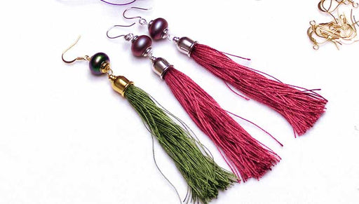 How to Make a Long Silk Tassel Statement Earring
