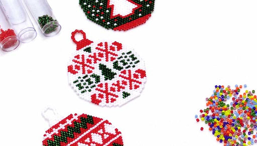 How to Bead Weave Brick Stitch Christmas Ornaments