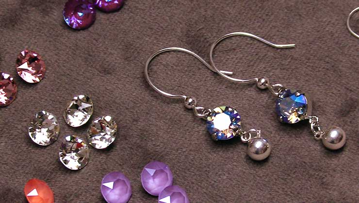 Bridal Chaton Dangle Earrings with Crystals from Swarovski
