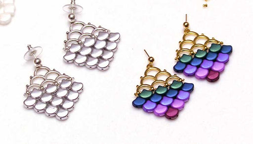How to Make a Pair of Earrings with the Ginko 2-Hole Beads and Cymbal Bead Endings